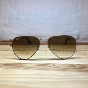 Ray Ban RB3025 Aviator Gradient - Gold/Light Brown